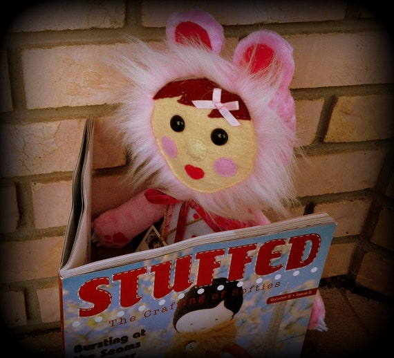 Plush Doll - Featured in Stuffed Magazine - Quirky Costumed Kid - Bear suit - Pink with leopard rose patches - Rosie