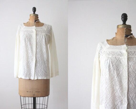 1970s blouse - slouchy eyelet blouse