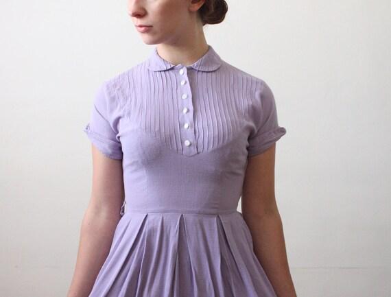 1940s dress - peter pan collar lilac day dress