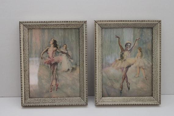 Vintage Set of 2 Shabby Chic Ballerina Framed Prints