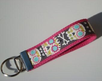 Wristlet Key Fob / Key Chain - Bonehead Sugar Skull on Hot Pink Cotton Webbing