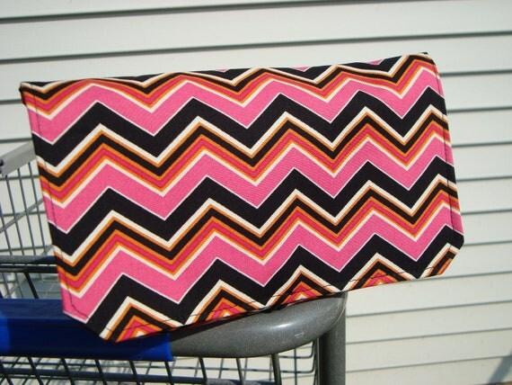 Coupon Organizer  Holder - Attaches to your Shopping Cart - Hot Pink, Black, Orange  Chevron - Zig Zag