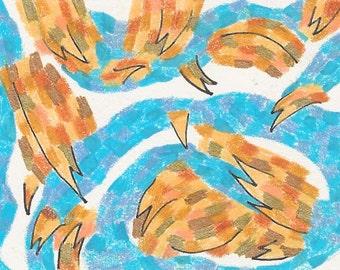 Desert Dance, Original Drawing, ACEO, desert, landscape, dance, dancing, blue, brown, yellow ochre, pink