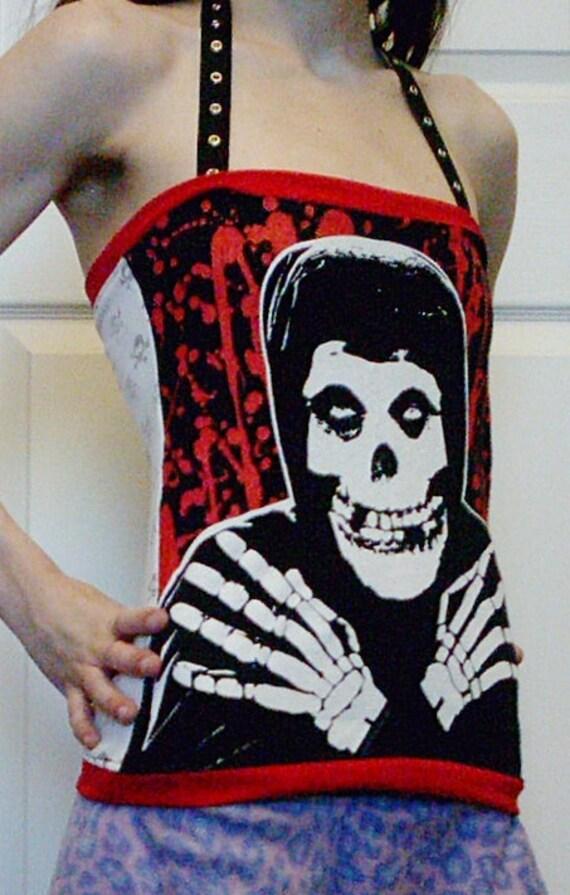 MISFITS Halter Top Shirt Punk DIY Red White Skulls OOAK