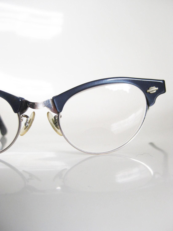 Vintage art craft cat eye navy glasses eyeglasses cateye 1950s for Art craft eyeglasses vintage