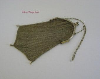 Art Deco Whiting & Davis Handbag /Purse  Antique Flapper Gold Soldered Metal Mesh  Genuine Sapphire Closure  Engraved Frame