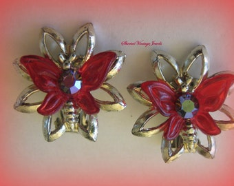 Vintage  Rockabilly  Earrings Red Butterfly on a Flower Aurora Borealis Rhinestone Center