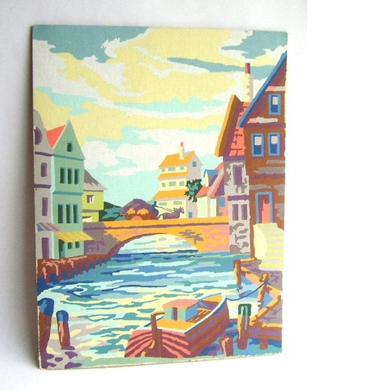 Colorful Vintage Paint By Number Boat Painting