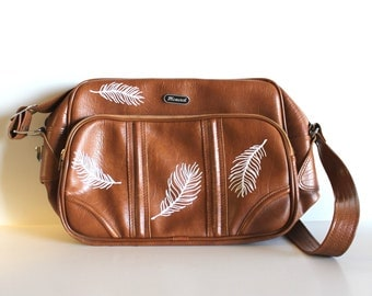 VINTAGE brown SHOULDER BAG with hand painted feathers