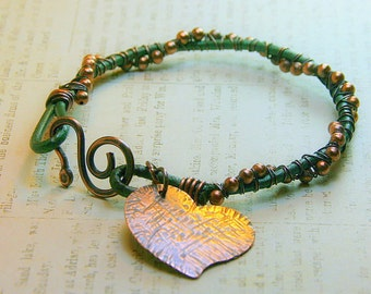 Hammered Copper Heart Charm on Wire Wrapped Beaded Leather Cording - Boho Style