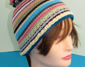 Instant Digital File pdf download knitting pattern - Random Stripe Bobble Beanie pdf knitting pattern