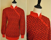 RESERVED  1980s Red and Black Sweater with Cheongsam Neckline/ Printed Holiday Sweater/ Size Medium to Large