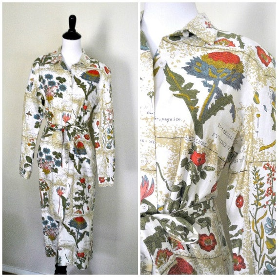 1970s Novelty Print Dress/ French Fruit and Flower Printed Shirtwaist/ Size Large to Extra Large
