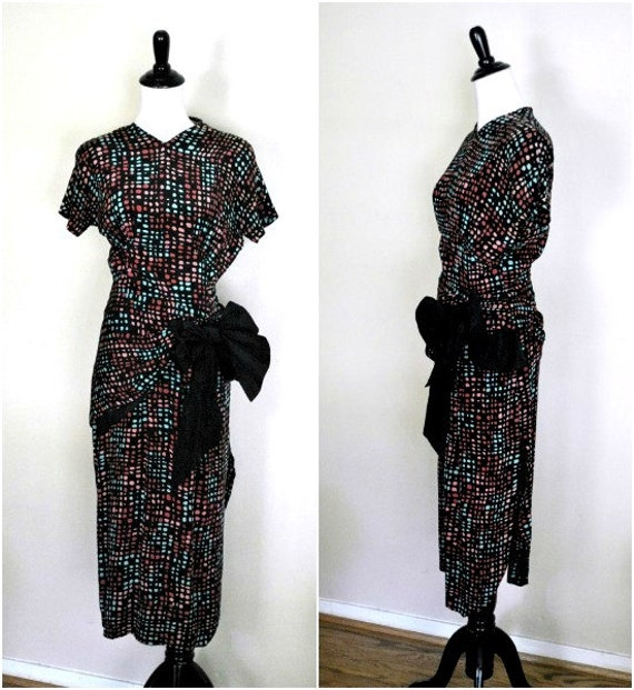 Reserved. Do Not Buy. 1940s Peplum Dress/ Black Silk with Colorful Polka Dots and Taffeta Bow/ Size Small to Medium
