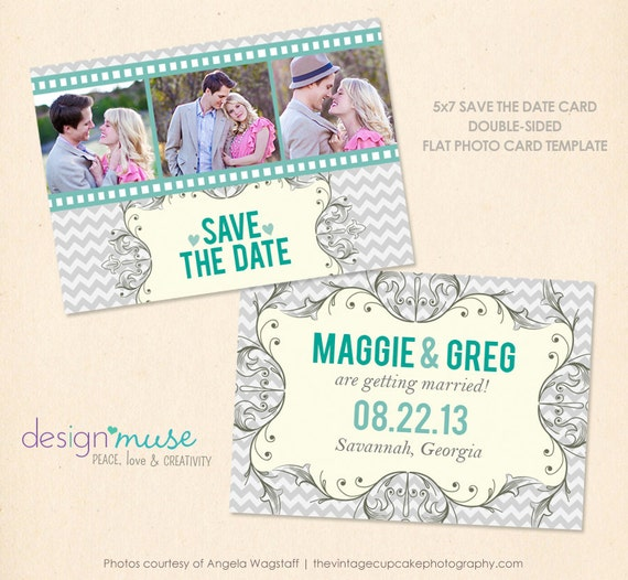 Items similar to save the date 5x7 chevron digital for Electronic save the date templates