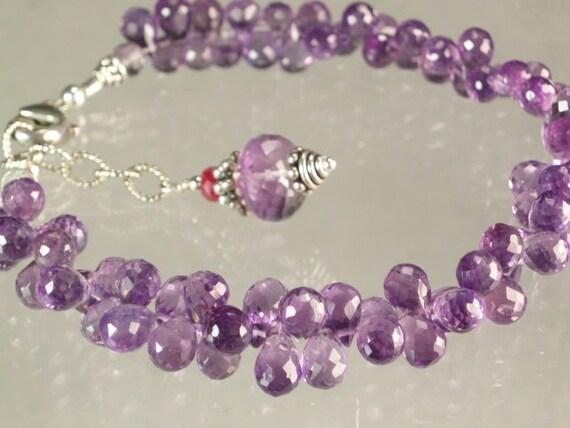 Fine purple Amethyst Drops sterling silver beaded bracelet