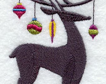 Christmas Deer Silhouette Embroidered Terry Kitchen Bathroom Hand Towel