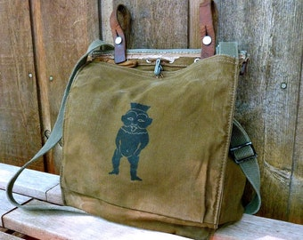 Egyptian God Bes on a Canvas Vintage Military Bag Satchel - Hand Painted