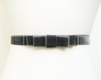 Smokey Grey Velvet Bow Belt
