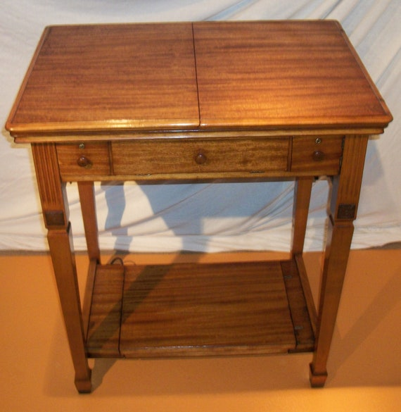 Singer sewing machine deluxe library table cabinet