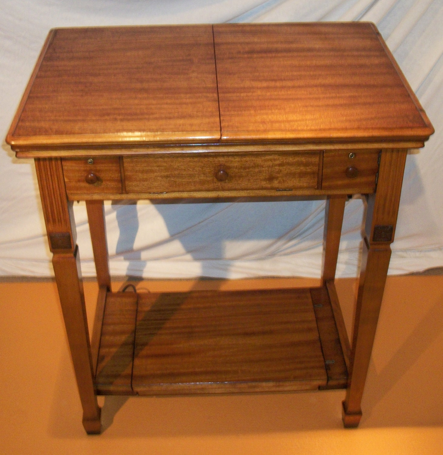 Singer sewing machine deluxe library table cabinet - Singer sewing machine table ...