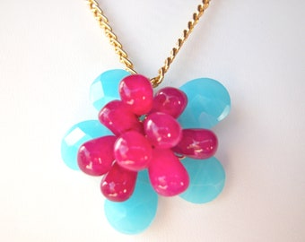 Flower jewelry, Fuchsia and Aqua Blue Flower necklace wire wrapped gemstone beaded flower pendant on goldplated chain