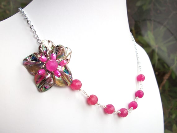 Pink flower necklace, asymmetrical beaded wire wrapped flower jewelry with mauve MOP, pink pearl, and pink quartz beads silver chain