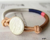 COOPER bracelet - textile and leather with button closure (platinum midnight flamingo chestnut)