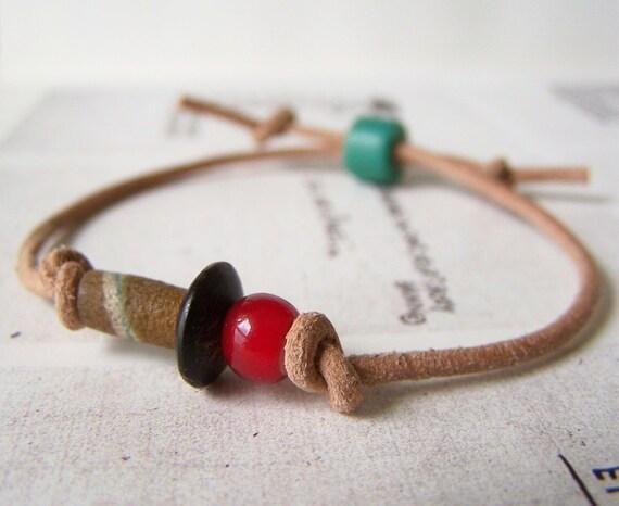 OOAK - NEVILLE bracelet - beaded, leather wrap