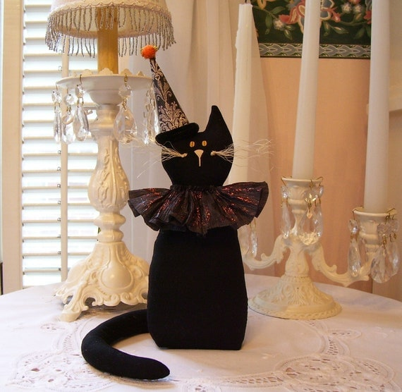 Black Cat...... Vintage Look Cat for Halloween Decor...So Cute
