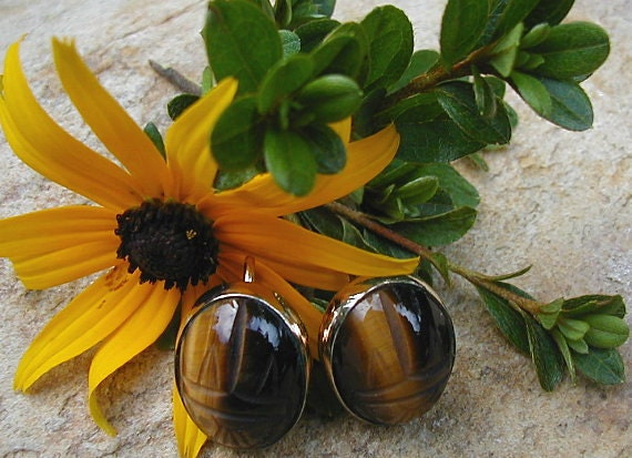 Vintage 14K GF Tiger Eye Scarab Earrings