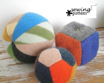 Upcycled Sweater Balls and Blocks - pdf pattern