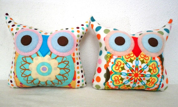 Express shipping US and Canada/TWO/Polyfil Stuffed little owl pillows decoration/collection - Ready to ship