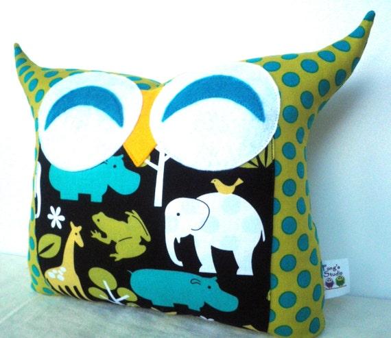 green  teal dots Polyfil Stuffed Animal Garden Owl Pillow/ Ready to ship