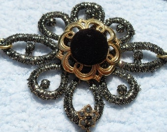 FREE SHIPPING Necklace Repurposed with All Vintage Pieces Five Different Pieces used Gold and Black Design Adjustable