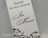 Elegant Swirl Just Married Door Hanger