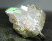 Massive Opal Aura Quartz Ring- Sterling Silver- Reserved Deposit
