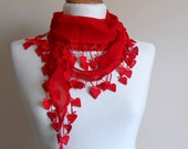 Christmas Gift - Red Heart Scarf - Cotton Scarf - Cowl with Lace Edge - Flower Scarf - Bridesmaid Gift