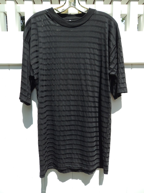 Black Sheer Striped T Shirt unisex xs s m l