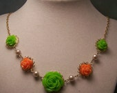 Rose cabochon Necklace...Tangerine and Lime...Lacy and Elegant