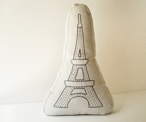 Paris Eiffel Tower - Sashiko inspired pillow