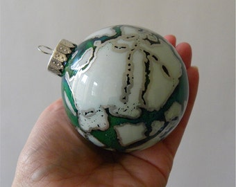 Glass Ornament - Hand Painted, One of a Kind Holiday Decoration