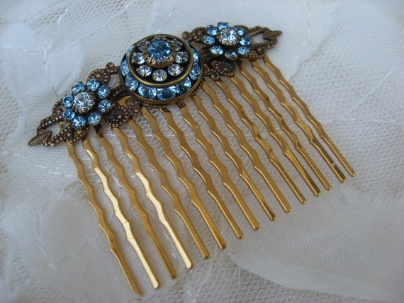 Blue Deco Golden Hair Comb