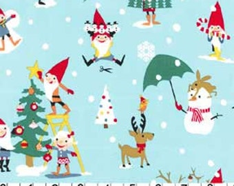 Gnome for the holidays Blue Multi Michael Miller Christmas Fabric, Choose your cut