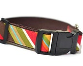 "Dog Collar 3/4 or 1"" - Catty Corner Stripes"
