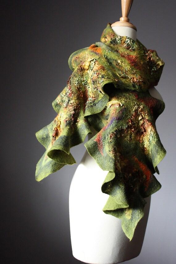 Nuno Felted scarf  Wool  silk  handdyed painted ruffled green moss earthy  textured nunofelting by VitalTemptation