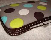 Designer Travel Wipes Case with Diaper Strap- Spledid Dot Grey