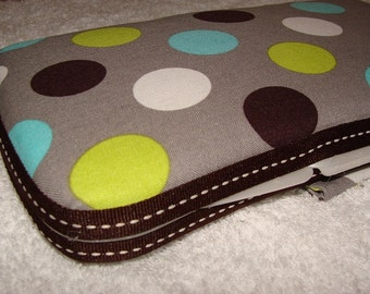 Designer Travel Wipes Case with Diaper Strap- Spledid Dot Grey