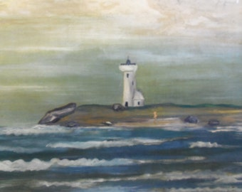 SALE - Vintage Signed and Framed Oil Painting of Lighthouse from Rustysecrets