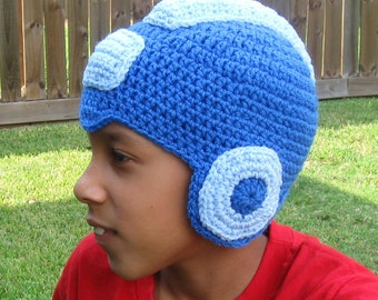 Megaman Crochet Hat in Youth Size, 19-20 inches head size